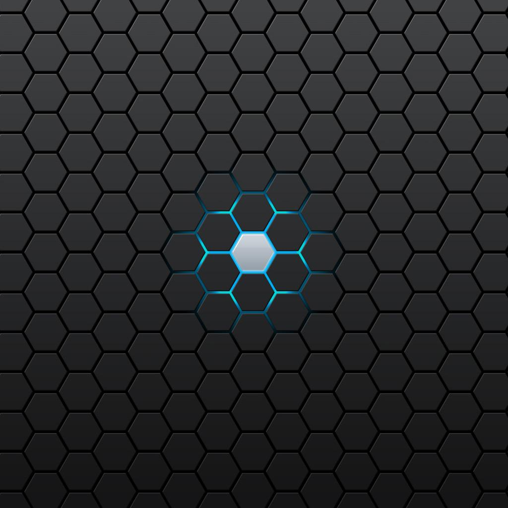 Blue Hexagon Glow | iPhone Shockwave Wallpapers