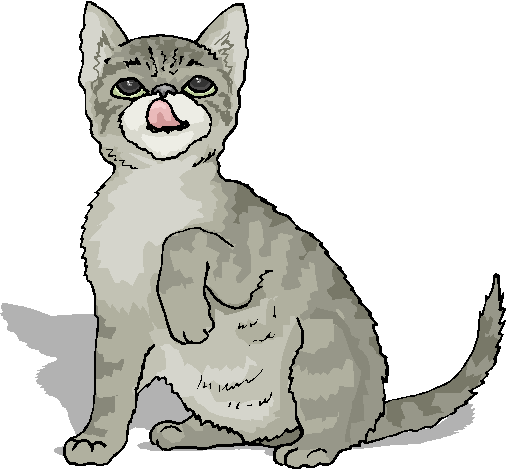 Funny Cat Lick His Nose Free Animal Clipart