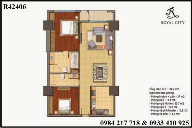 Mua bán chung cư Royal City giá tốt, chưa bao giờ ưu đãi lớn đến vậy, căn hộ R42406 Royal City diện tích 112.4 m2 một trong những căn đẹp nhất dự án.