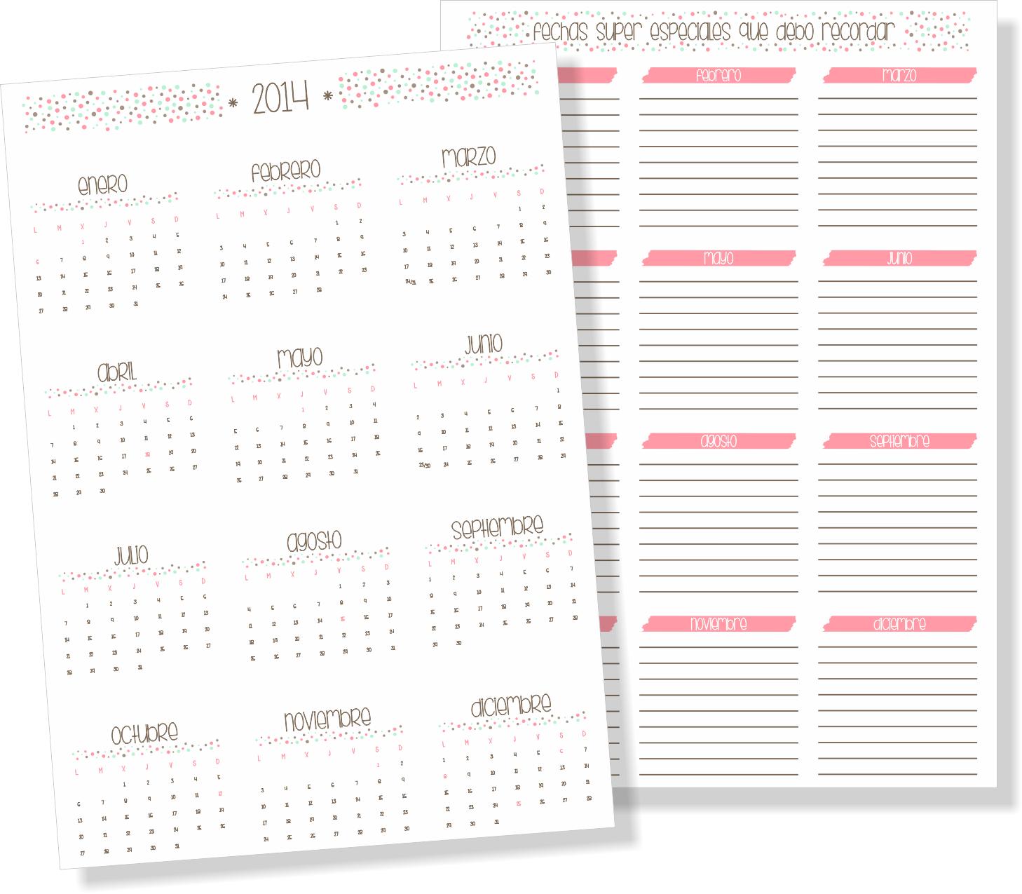 Agenda Calendario 2014