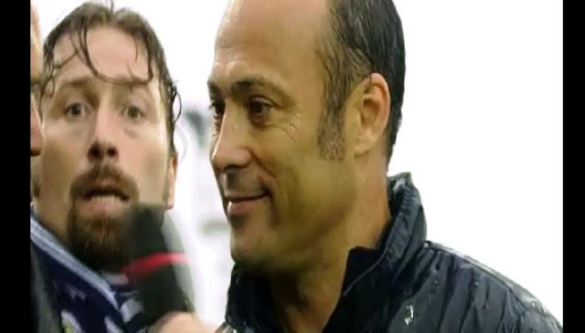 Mr Asta del Bassano durante l'intervista di fine gara, dietro un tifoso del Como