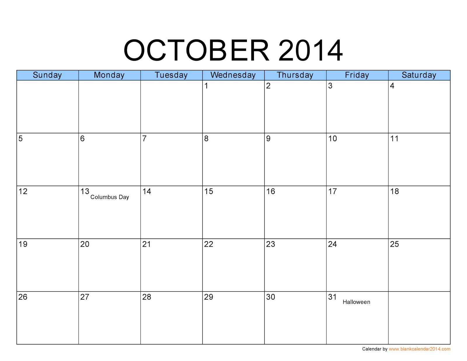 Calendar Printables October : Free printable calendar october