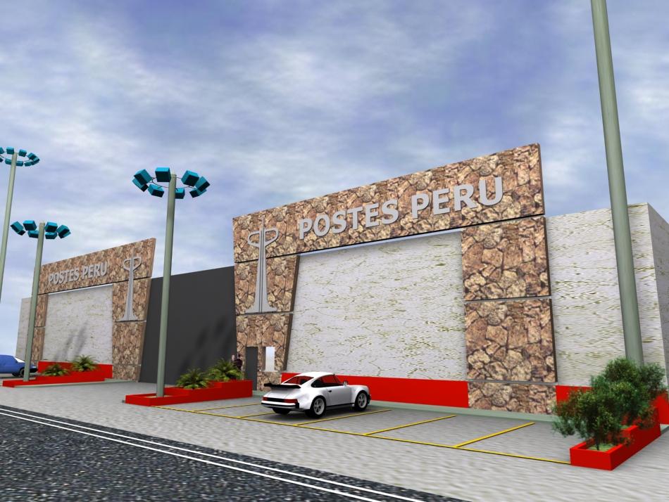 Dise o fachada postes peru sede pacasmayo for Diseno locales comerciales