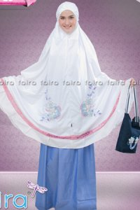 Faira Mukena MS 23 - Putih Biru (Toko Jilbab dan Busana Muslimah Terbaru)