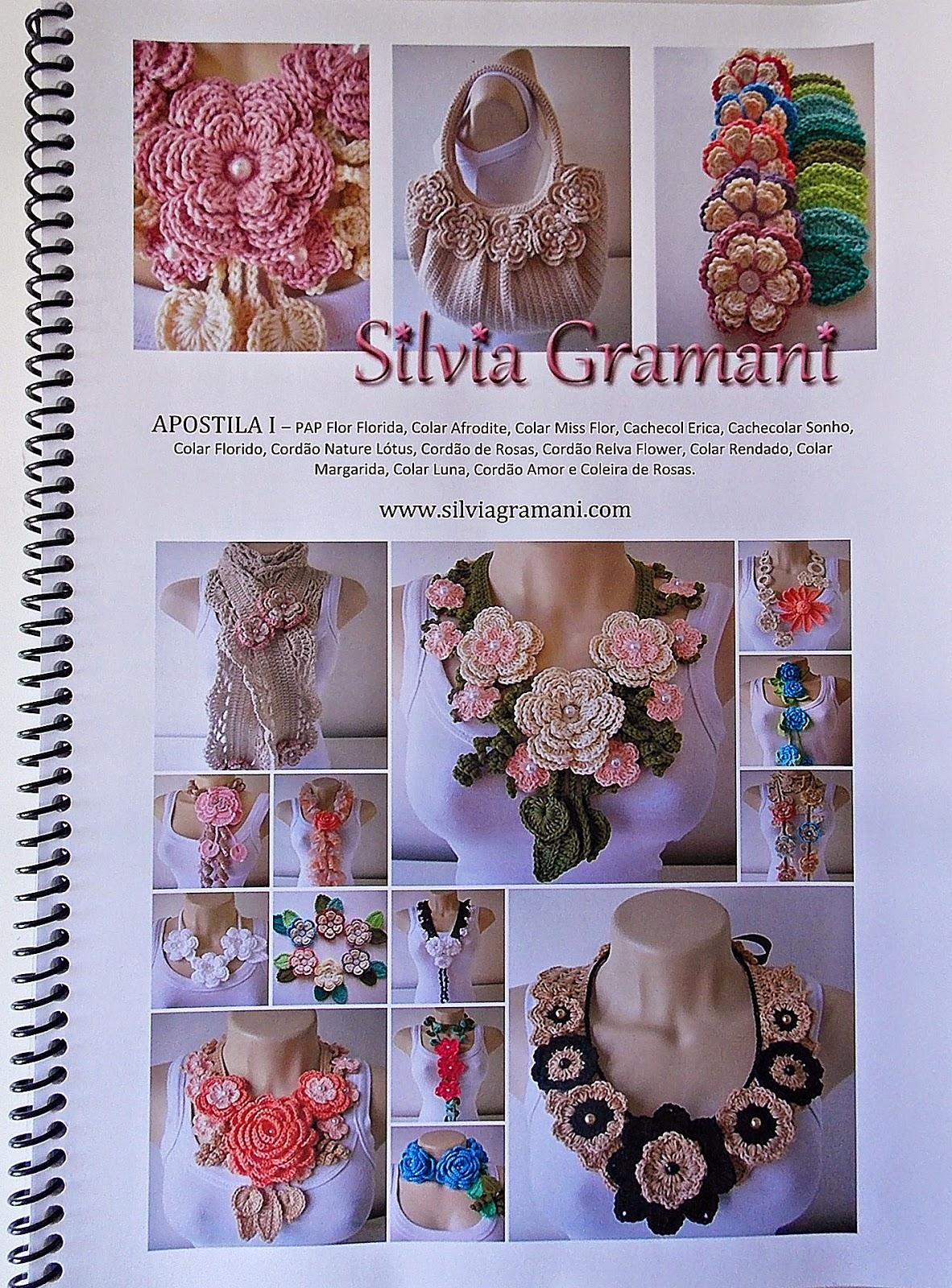 Apostila de crochê, como fazer colares de crochê com flores
