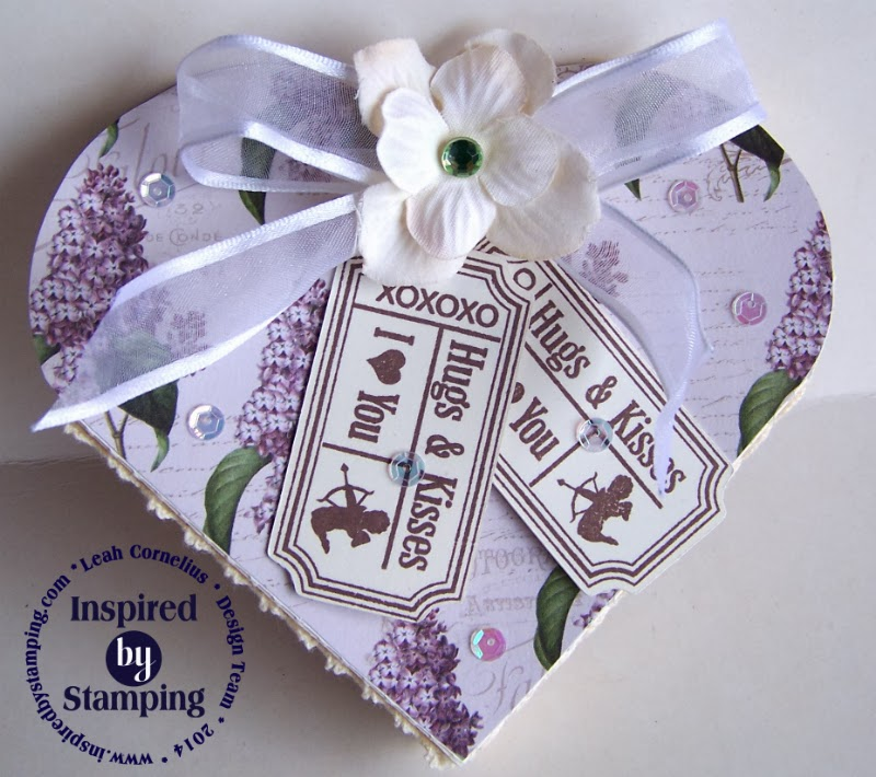 Inspired by Stamping, Leah Cornelius, Spring Lilacs Paper Pad, Vintage Tickets Stamp Set, Valentine's Day Box