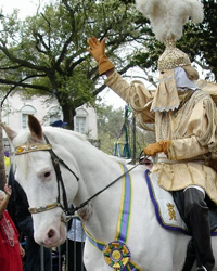 King Rex on his Horse at the Mardi Gras Parade on Fat Tuesday