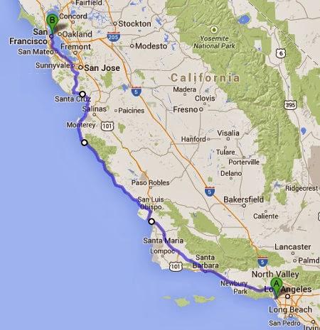 Map San Francisco to Los Angeles San Diego Los Angeles