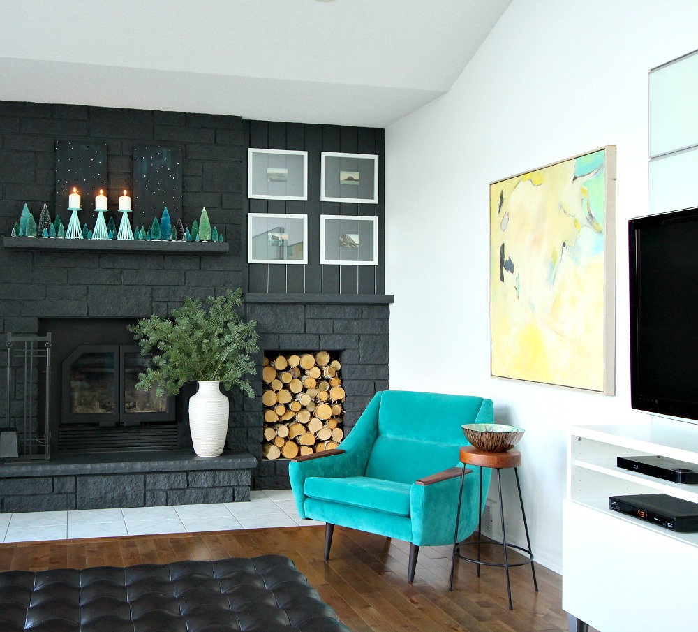 Wintry mantle styling in teal and turquoise