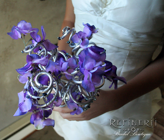 purple flower crystal metal bouquet