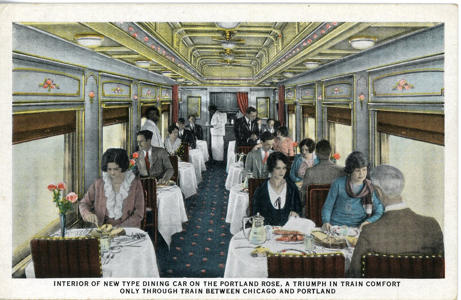 the national railroad postcard museum dining car union pacific railroad. Black Bedroom Furniture Sets. Home Design Ideas