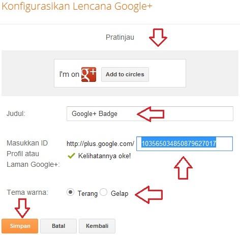 Konfigurasi Lencana Google+