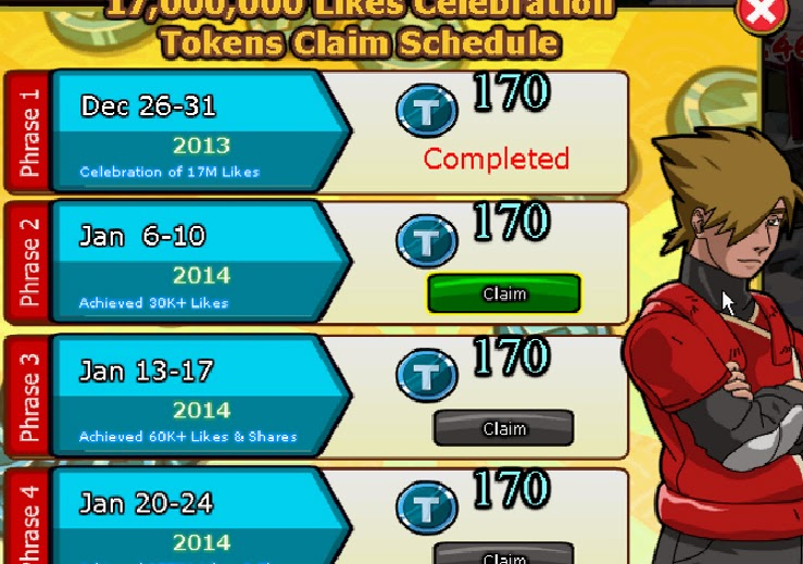 Free 170 Token Ninja Saga 2014