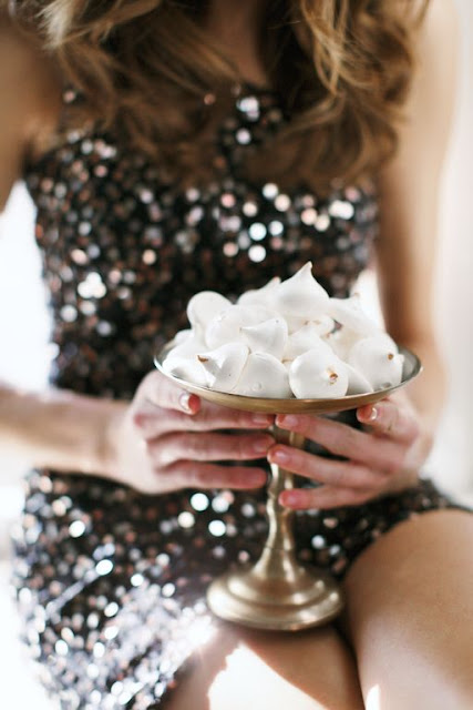 sequin dress and gold tipped meringues