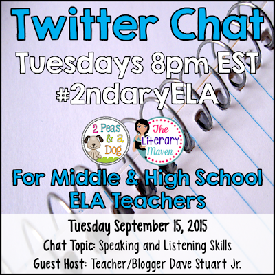 Join secondary English Language Arts teachers Tuesday evenings at 8 pm EST on Twitter. This week's chat will focus on speaking and listening skills in the ELA classroom.