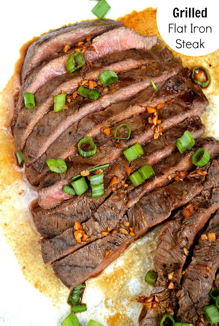 Grilled Flat Iron Steak Made with a simple versatile grilling marinade.
