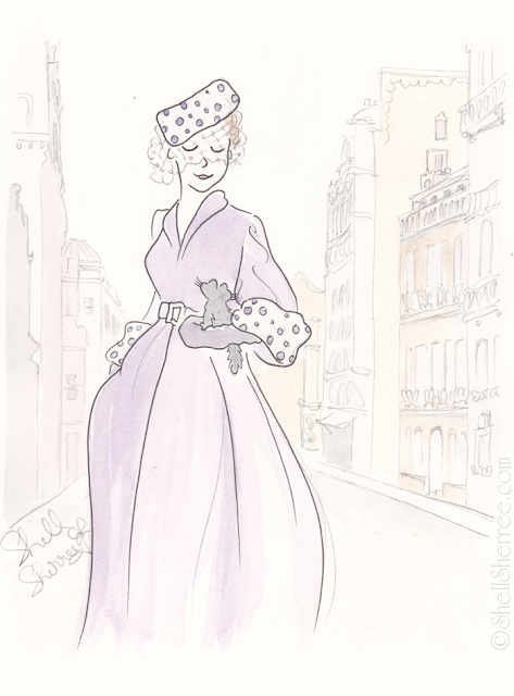 Fashion and fluffballs illustration : Vintage Paris Purple © Shell-Sherree