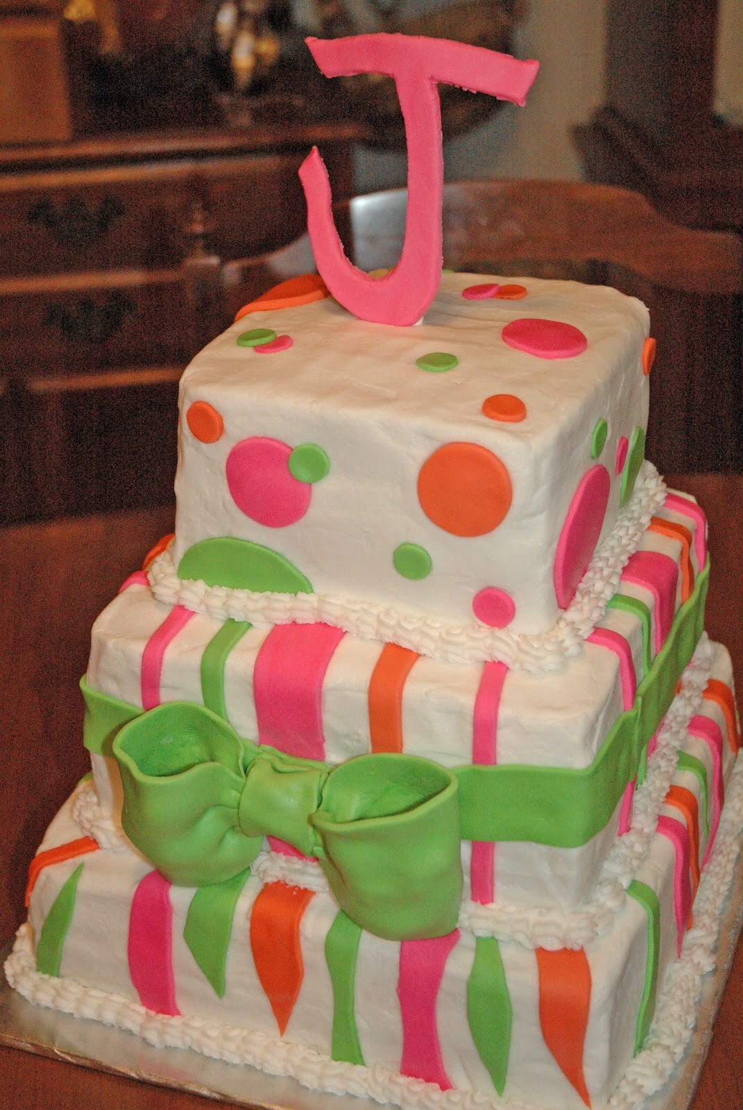 Cashs Cakes Lime Green Pink Orange 3 Tiered Birthday Cake