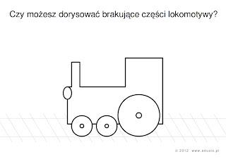 karty dla przedszkolaków do wydrukowania - pociąg