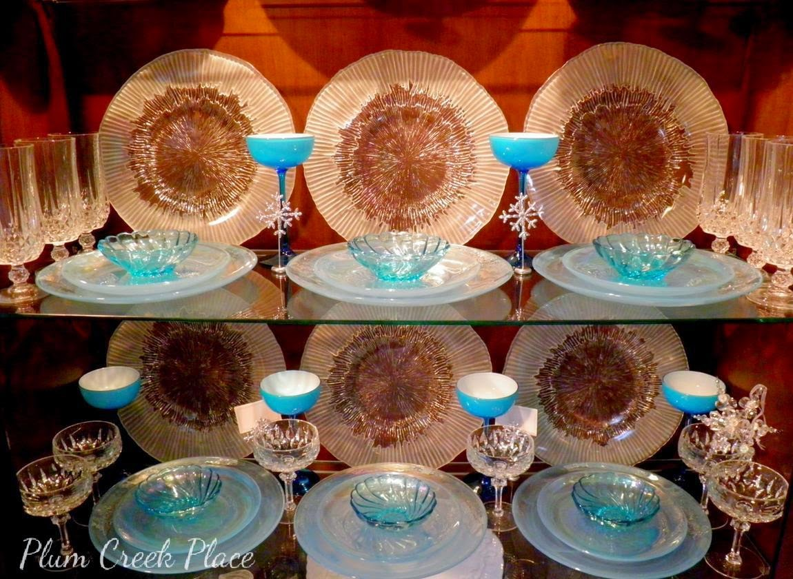 Plumcreek Place - Aqua glass and crystal in the china cabinet