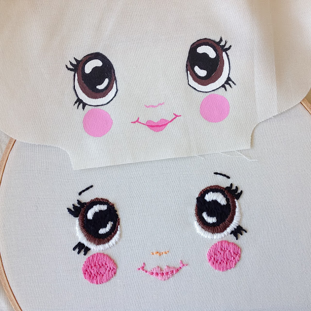 Hand painted and hand embroidered faces to compare
