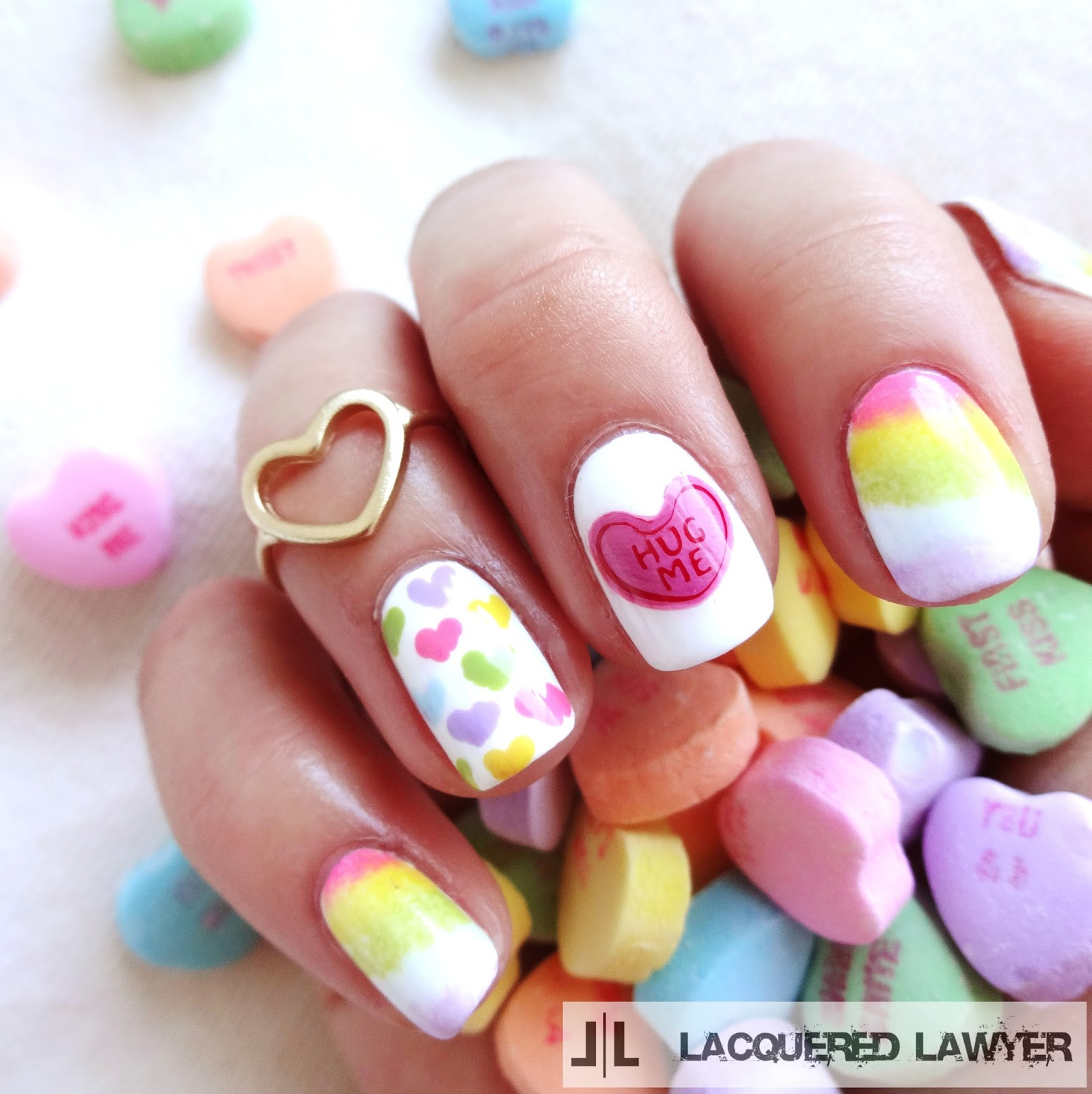 Conversation Heart Nail Art