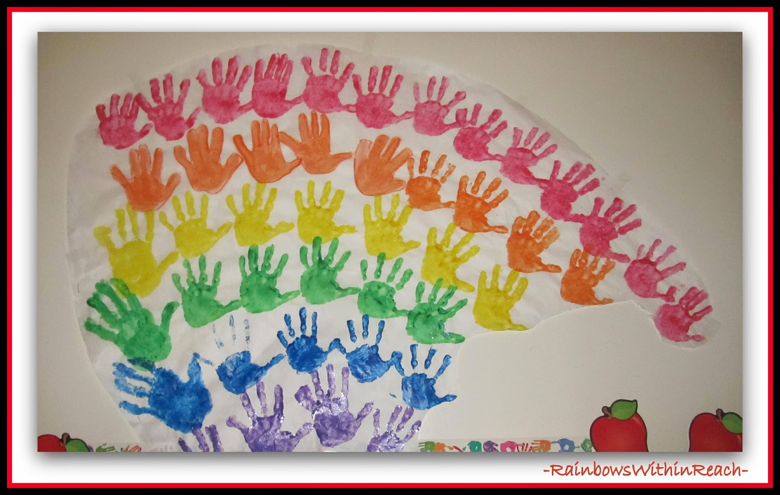Classic Rainbow from Painted Hand Prints as Bulletin Board Cover
