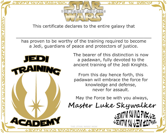 Star Wars Jedi Training Academy Certificate, Degree, or Diploma Free Printable