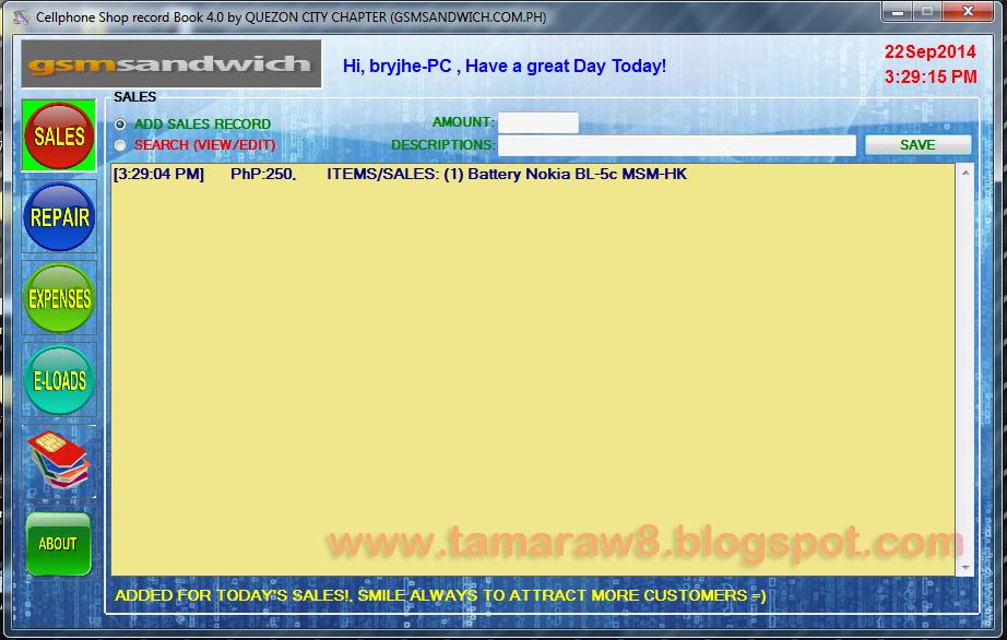 tamaraw8 cellphone shop record book v4 0