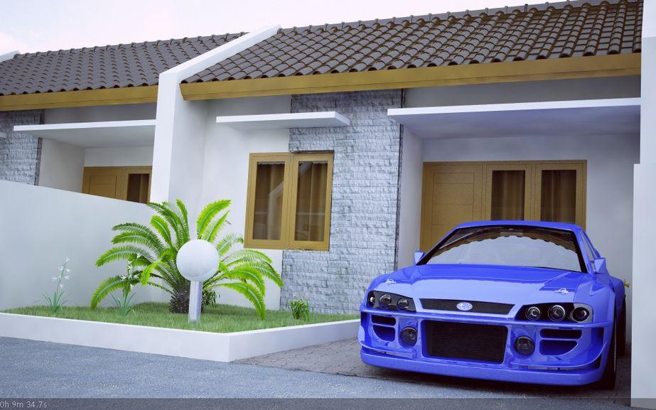 bentuk rumah type 21 modern terlihat depan