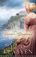 cover of The Tutor's Daughter by Julie Klassen shows a woman in pink standing on a cliff looking out over the ocean with an estate house in the distance