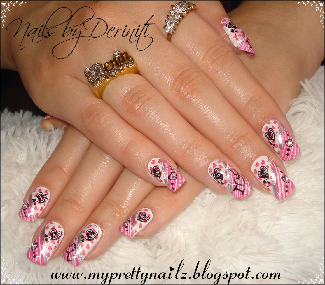 My pretty nailz be my valentine mani valentines day nail art m56 m65 bm02 bm17 fauxnad b14 konad white special polish konad pink special polish prinsesfo Image collections