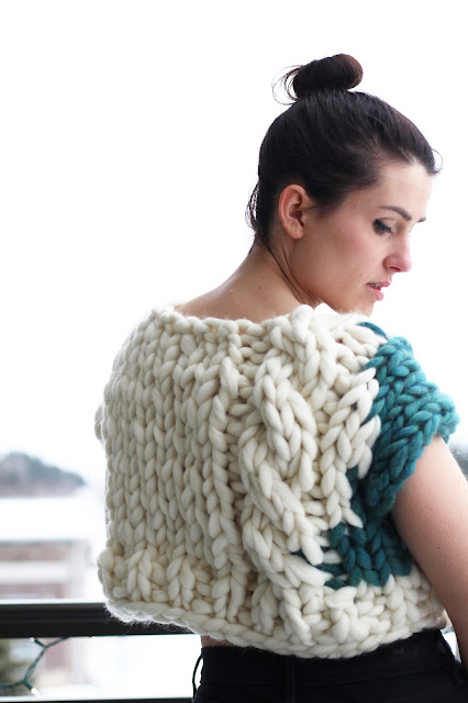 giant knitting knit handknit cabled intarsia colorblocked sweater roving chunky gauge sweater pullover handmade one of a kind ooak brunette girl young woman blogger fashion designer outfit of the day ootd knit techniques handcrafted artisan