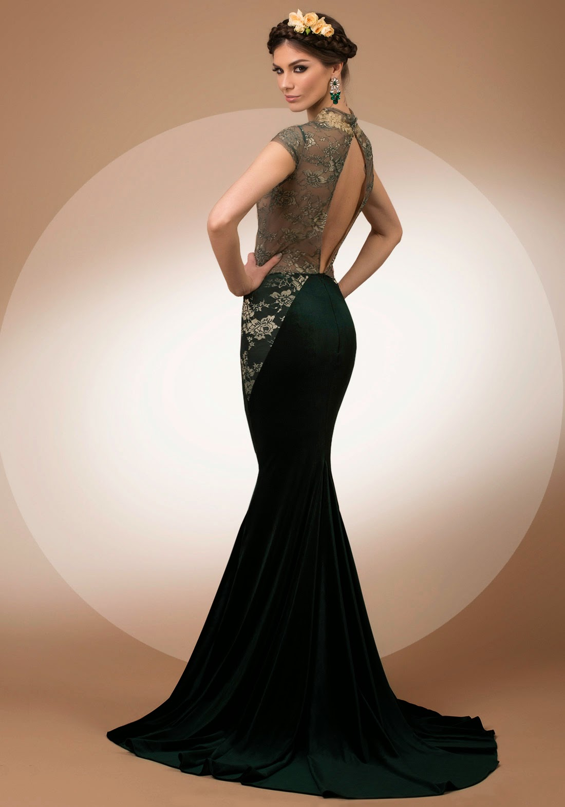 My Secret Forest, mermaid velvet and lace evening dress with deep V neck, Bien Savvy My Secret collection