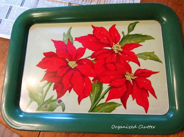 Vintage Poinsettia Tray www.organizedclutterqueen.blogspot.com