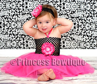 Hot Pink Flower Black Boutique Crochet Top - Hot Pink Ballet Tutu