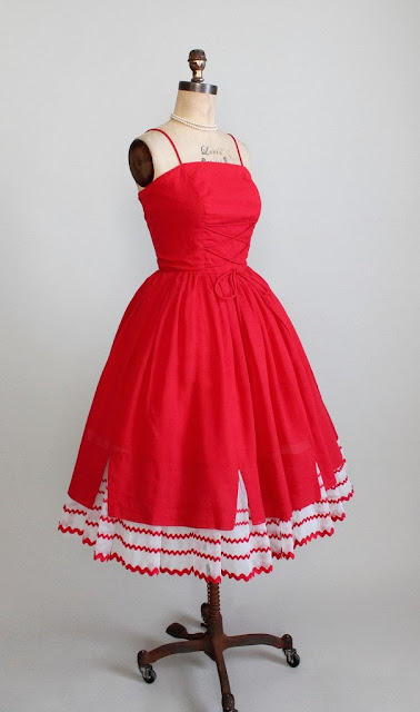 Red Cotton Full Skirt