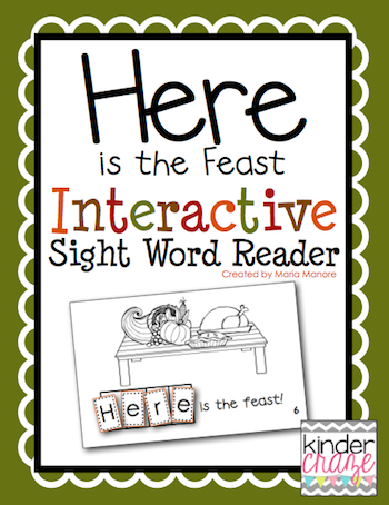"Thanksgiving emergent reader for sight word ""here"""