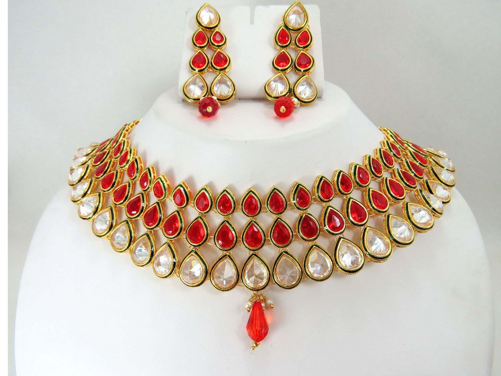 online stone design jewellery traditional dance kempu necklace temple