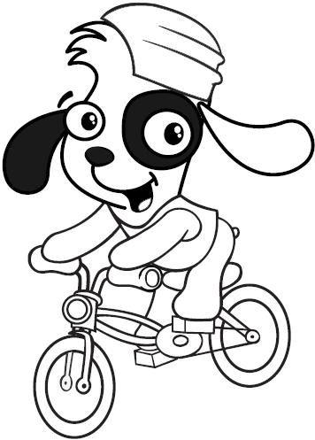 Dibujo para colorear de Doki en Bicicleta. ~ Pintamonos
