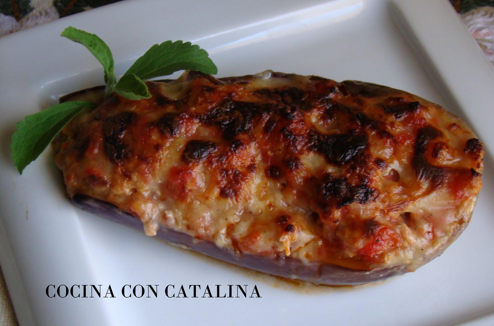 Cocina con catalina berenjenas rellenas de carne y for Cocina berenjenas rellenas
