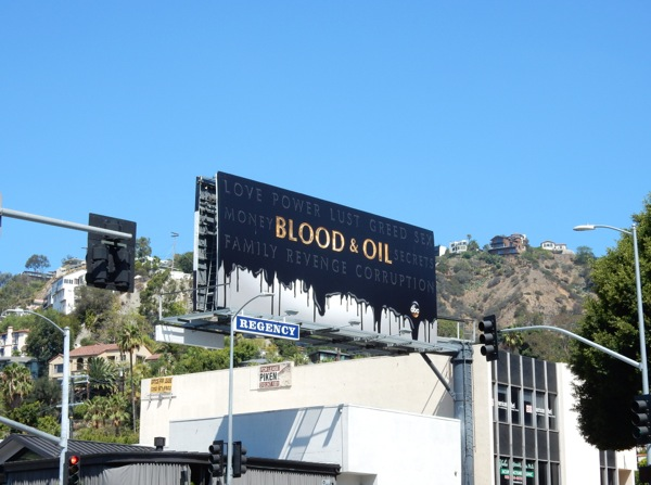 Blood and Oil teaser billboard