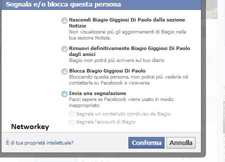 segnalare profili facebook spam