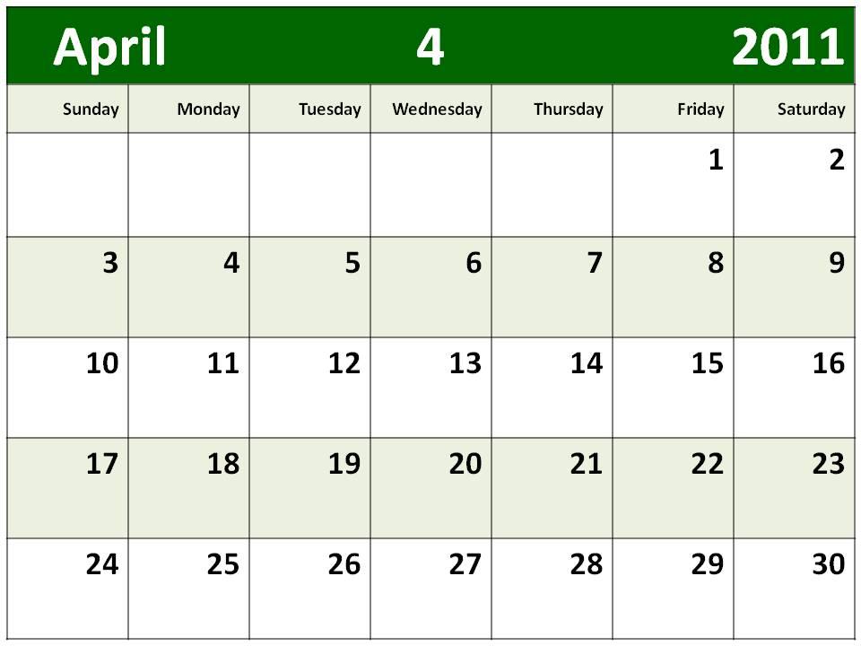 april 2011 blank calendar. hairstyles Blank Calendar 2011