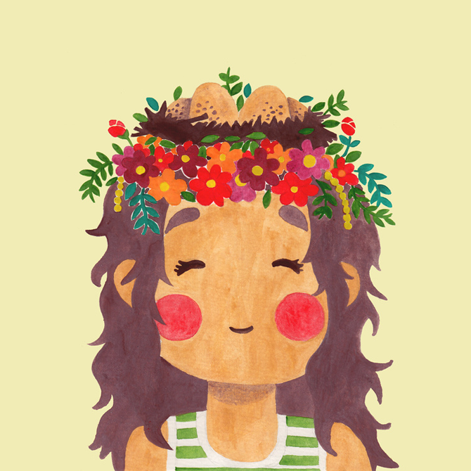 Bird Nest Girl in the Spring Season Illustration Printed on Merchandise Illustration by Haidi Shabrina