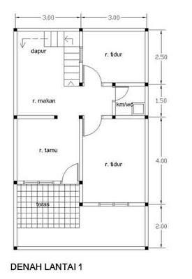 denah desain rumah 2 lantai type 21