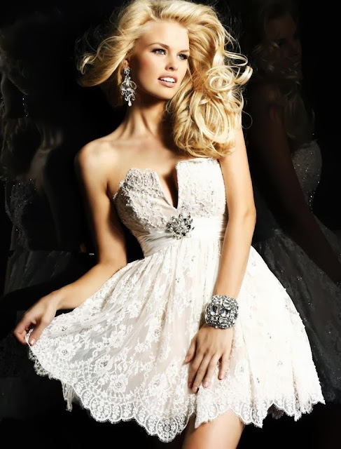 lace short prom
