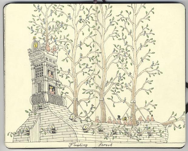 Mattias Adolfsson,dibujos,drawings,moleskine,suecia,sweden,arboles,trees