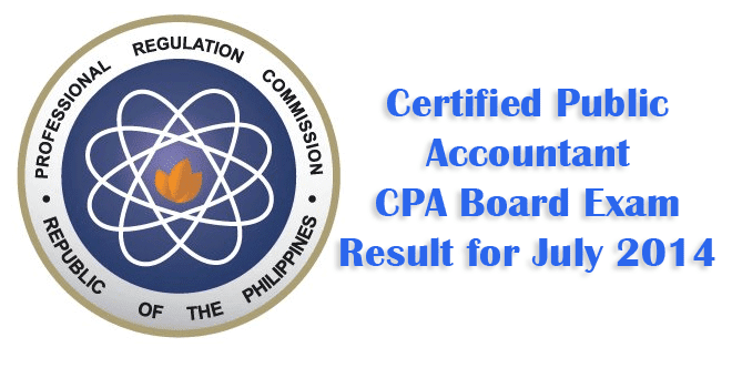 Certified Public Accountant (CPA) Board Exam Result for July 2014