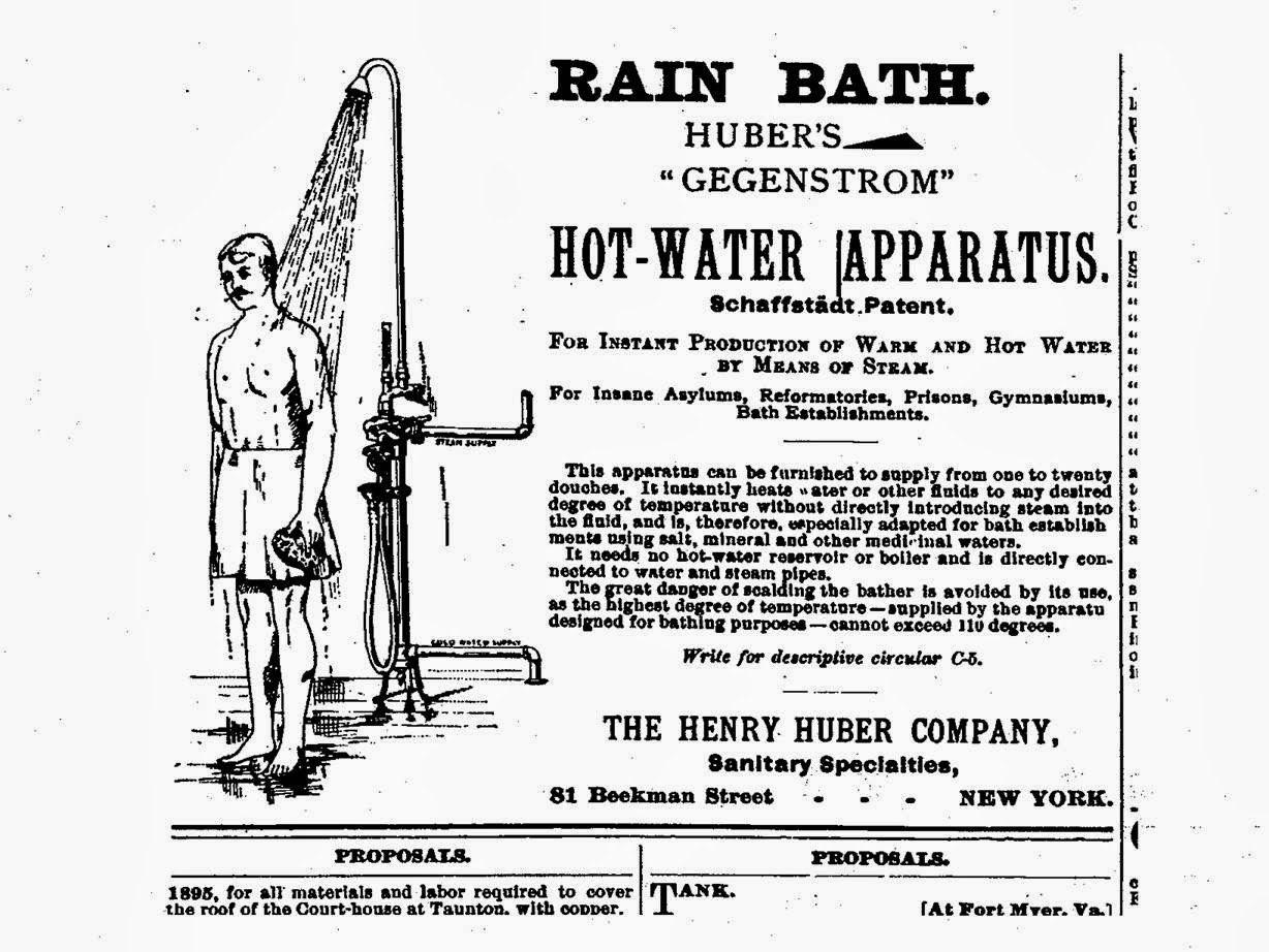 19th century bathroom history shower
